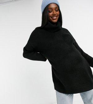 Черный джемпер для будущих мам в стиле oversized с высоким воротником Topshop Maternity