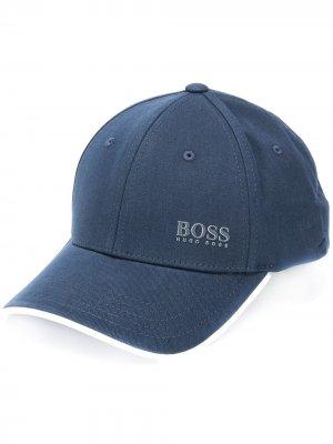 Бейсболка с вышитым логотипом BOSS. Цвет: синий
