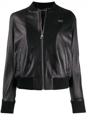 Куртка-бомбер с металлическим логотипом Philipp Plein. Цвет: черный