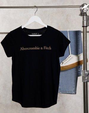 Черная футболка с круглым вырезом и логотипом спереди -Синий Abercrombie & Fitch