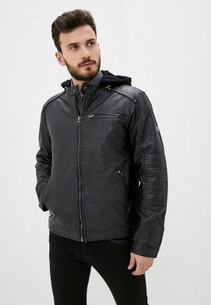 Куртка кожаная Indicode Jeans Peter. Цвет: черный