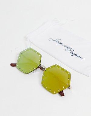 Квадратные солнцезащитные очки со стразами -Коричневый цвет Jeepers Peepers
