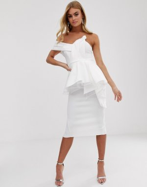 Платье-бандо миди с баской на подкладке из органзы -Белый ASOS DESIGN