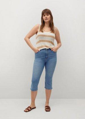 Укороченные джинсы с посадкой на талии - Sandrine Mango. Цвет: светло-синий