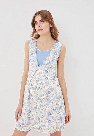 Платье домашнее Очаровательная Адель. Цвет: голубой