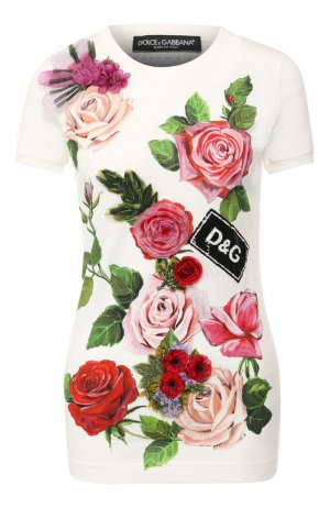 Хлопковая футболка Dolce & Gabbana. Цвет: белый