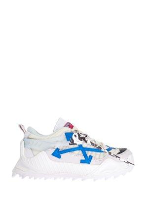 Массивные кроссовки ODSY-1000 с комбинированной отделкой OFF-WHITE. Цвет: белый