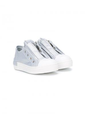 Кроссовки с контрастным носом и молнией спереди Cinzia Araia Kids. Цвет: белый