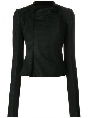 Драпированная кожаная куртка Rick Owens. Цвет: чёрный