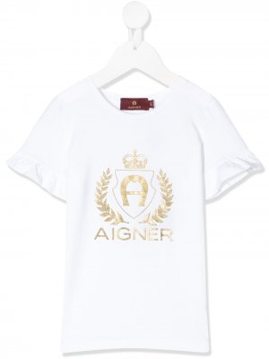 Футболка с логотипом металлик Aigner Kids. Цвет: белый