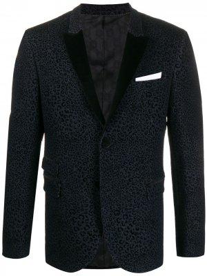 Приталенный пиджак с леопардовым принтом Neil Barrett. Цвет: синий