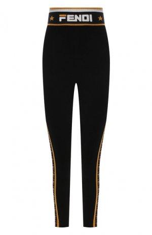 Леггинсы с логотипом бренда Fendi. Цвет: черный