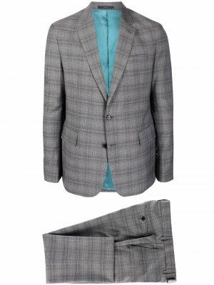Клетчатый костюм с однобортным пиджаком PAUL SMITH. Цвет: серый