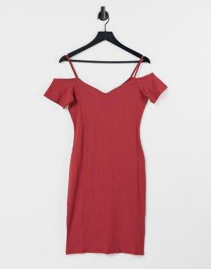 Облегающее платье с открытыми плечами -Красный Lipsy