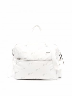 Пеленальная сумка с логотипом Kenzo Kids. Цвет: белый