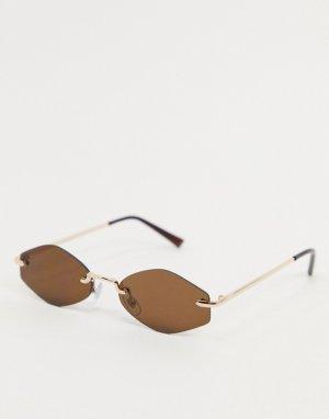Солнцезащитные очки в золотистой оправе с коричневыми стеклами -Золотистый AJ Morgan