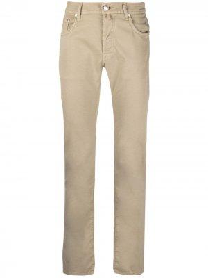 Прямые брюки с платком Jacob Cohen. Цвет: нейтральные цвета