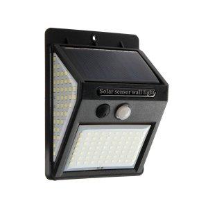 Светильник уличный с датчиком движения, солнечная батарея, 15 вт, 70+40+40 led, черный Luazon Lighting