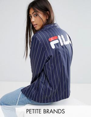 Ветровка в тонкую полоску с логотипом на спине Fila Petite. Цвет: темно-синий