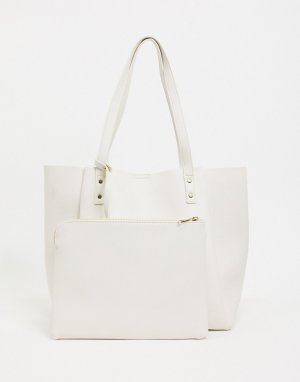 Белая сумка-шоппер с отстегивающимся чехлом для планшета -Белый ASOS DESIGN
