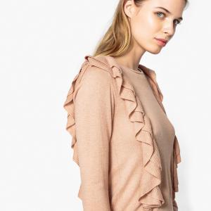 Пуловер с круглым вырезом из тонкого трикотажа PEPE JEANS. Цвет: бледно-розовый