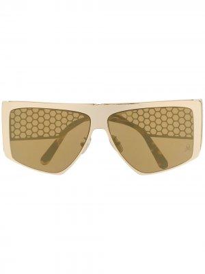 Солнцезащитные очки с сетчатыми дужками Philipp Plein. Цвет: золотистый