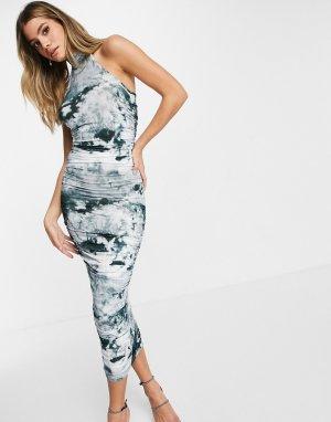 Платье миди со сборками, передней частью в виде майки-борцовки и принтом тай-дай -Многоцветный ASOS DESIGN