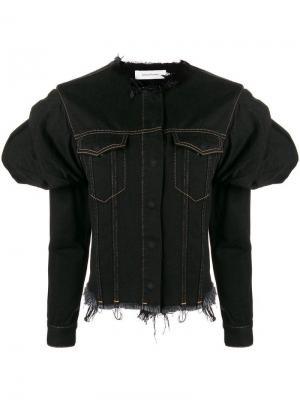 Джинсовая куртка с дутыми рукавами Marques'almeida. Цвет: черный