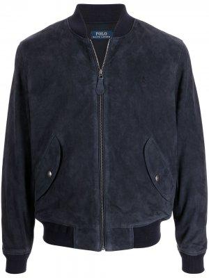 Embroidered-logo suede bomber jacket Polo Ralph Lauren. Цвет: синий