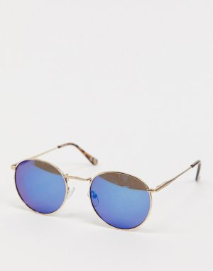 Круглые солнцезащитные очки с золотистой оправой и синими стеклами -Золотой ASOS DESIGN