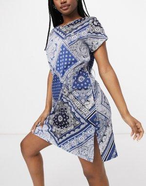 Темно-синяя ночная сорочка с принтом Lauren by Ralph Lauren-Темно-синий
