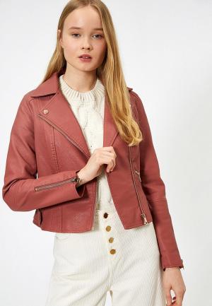 Куртка кожаная Koton. Цвет: коралловый