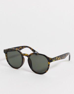 Круглые солнцезащитные очки в стиле 70-х с черепаховой оправой -Зеленый ASOS DESIGN