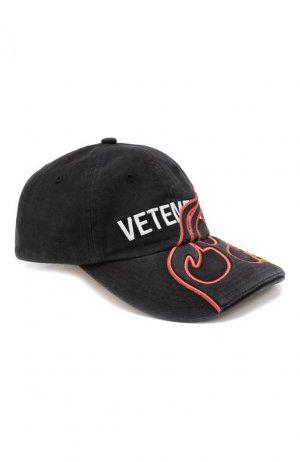 Хлопковая бейсболка с вышивкой Vetements. Цвет: черный
