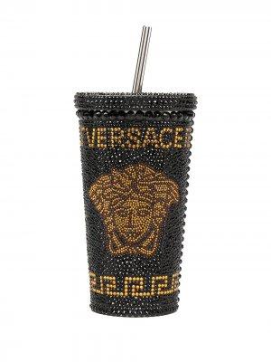 Декорированный стакан Medusa с трубочкой Versace Home. Цвет: серебристый