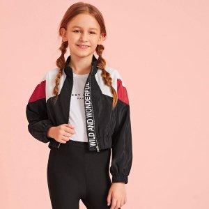 Кроить и шить куртка с текстовым принтом для девочек SHEIN. Цвет: многоцветный