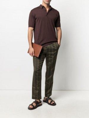 Рубашка поло с короткими рукавами John Smedley. Цвет: коричневый