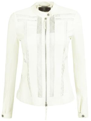 Кожаная куртка с декором Roberto Cavalli. Цвет: бежевый