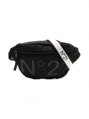 Поясная сумка с логотипом Nº21 Kids. Цвет: черный