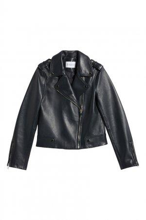 Темно-синяя куртка-косуха из кожи Claudie Pierlot. Цвет: синий
