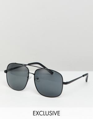 Черные солнцезащитные очки-авиаторы inspired Reclaimed Vintage. Цвет: черный