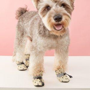 Обувь для домашних животных с принтом лапы 4шт SHEIN. Цвет: многоцветный