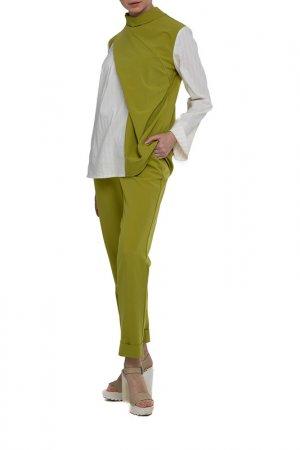 Костюм: блуза, брюки Adzhedo. Цвет: оливковый, молочная полоса
