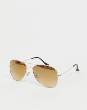 Солнцезащитные очки-авиаторы с золотистыми стеклами -Коричневый Jack & Jones