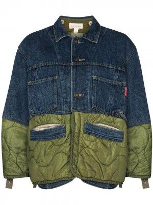 Джинсовая куртка со вставками Rentrayage. Цвет: синий