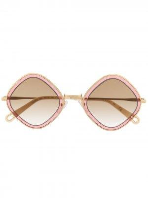 Солнцезащитные очки в двухцветной квадратной оправе Chloé Eyewear. Цвет: золотистый