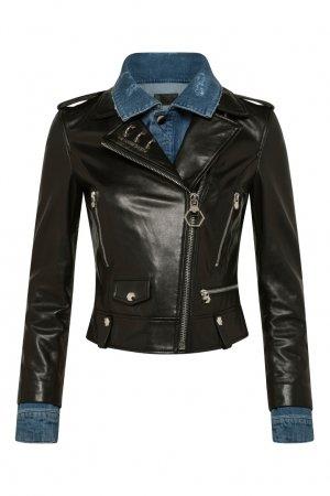 Черная кожаная куртка-косуха Philipp Plein. Цвет: черный