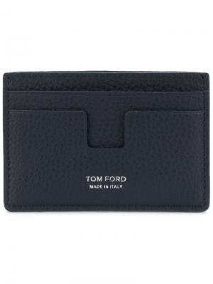 Футляр для карт из зернистой кожи Tom Ford. Цвет: синий