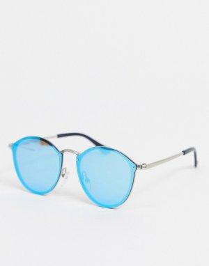 Круглые солнцезащитные очки с синими стеклами -Серебристый SVNX