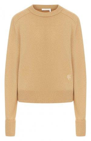 Кашемировый пуловер Chloé. Цвет: бежевый